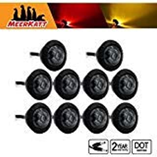 Meerkatt (Pack of 10) Special Generation 3/4 inch Round Smoked Lens 5 Amber + 5 Red LED SMD Side Marker Clearance Indicators Lights 2 Pin Plug black rubber grommets Trailer Boat RV Truck 12V DC XT-DC