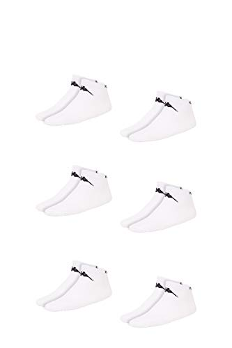 Kappa VAHEL Sneaker-Socken Unisex | leichte, robuste Socken für Damen und Herren | ideal zu Turnschuhen und Sneakers | atmungsaktiv | Baumwoll-Polyamid-Elasthan Mix | 6er Pack, weiß, Größe 43-46