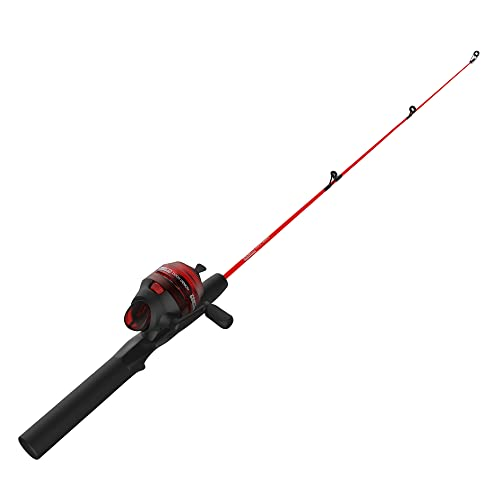 "Zebco Dock Demon Spincast Reel and Fishing Rod Combo, Durable Fiberglass Rod, Quickset Anti-Reverse Fishing Reel, Red, 20-Size Reel / 30""/ 1-Piece/Medium Rod"
