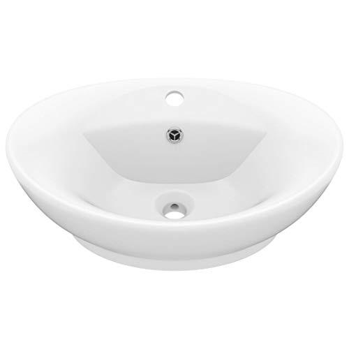 vidaXL Luxus Waschbecken mit Überlauf Waschschale Aufsatzwaschbecken Waschtisch Waschplatz Handwaschbecken Oval Matt-Weiß 58,5x39cm Keramik