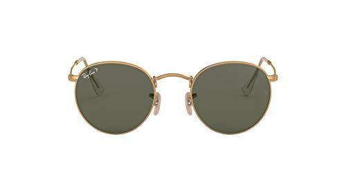 Ray-Ban Herren Round Metal Sonnenbrille, Gold (Matte Gold/Polargreen), One size (50)