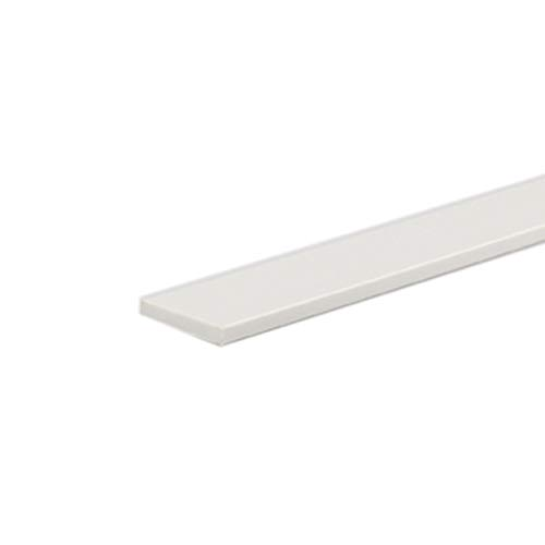 PVC-Kunststoffleiste, flach, 50 x 3 mm, 940 mm lang, Weiß