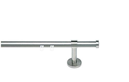 indeko CONSUL, Gardinenstange mit Innenlauf Ø 20mm auf Maß, 1-Lauf, edelstahloptik, Komplettset mit Zubehör