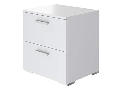 Marque Amazon - Movian, table de chevet à 2 tiroirs de style moderne, modèle Kolva, 38 x 45 x 47 cm, Blanc