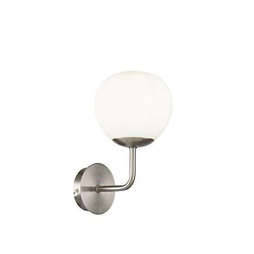 Applique Murale 1 lampe, Style Moderne, Art Deco, Armature en Métal couleur nickel, plafonnier en verre blanc pour le Salon, le Bureau, 1 ampoule excl, 1x E14 40w 220v