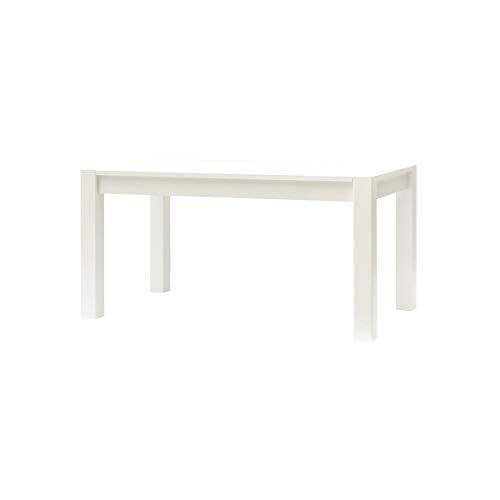 ARR120 Table extensible en bois de placage frêne et laqué blanc, avec 2 rallonges de 40 cm. logées sous le plateau.