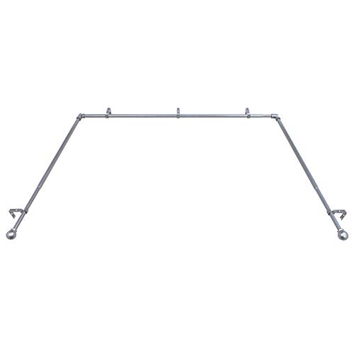 Decopolitan Bay Window Single Rod Set, Antique Silver, Size: extends from 36-72 inches, side rods extend 18-36 inches.Projection:3.5 inches