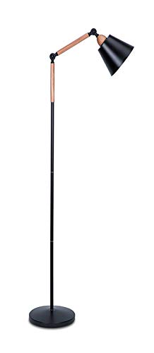 Modern Metal Floor Lamp Reading Lighting, Adjustable Standing Lamp with Heavy Metal Based and 9W LED Bulb for Living Room, Bedroom, Office or Study Room - Black