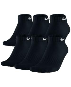 NIKE Dri-Fit Training Everyday Cotton Cushioned Low Cut Ankle Socks 6 PAIR Black with White Signature Swoosh Logo LARGE 8-12-UNISEX