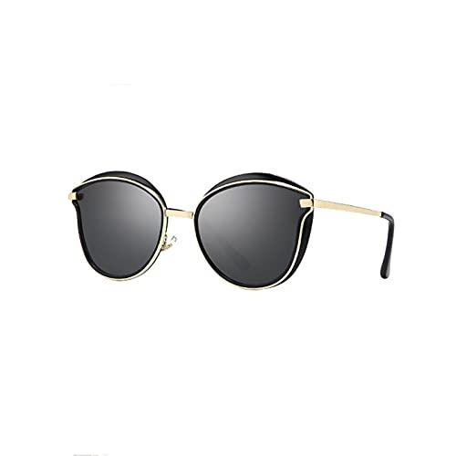 DWAC Gafas De Sol Polarizadas Retro, Mujeres De Gafas De Sol, Marco De Metal Ligero Gafas De Sol Al Aire Libre, Protección UVA/UVB (Color : Black)