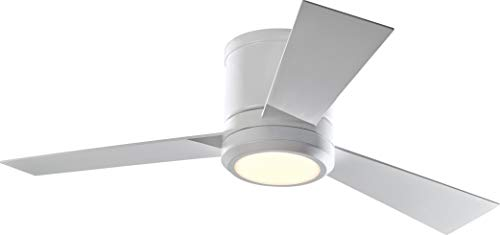 """Monte Carlo 3CLYR42RZWD-V1 Clarity II 42"""" Hugger Fan with LED Light and Remote Control, 3 Blades, Matte White"""