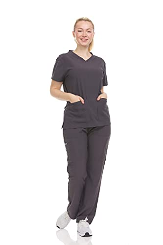 DDT004 Women Scrub Sets V-Neck Medical Scrubs Draw String and Elastic Gray Size M