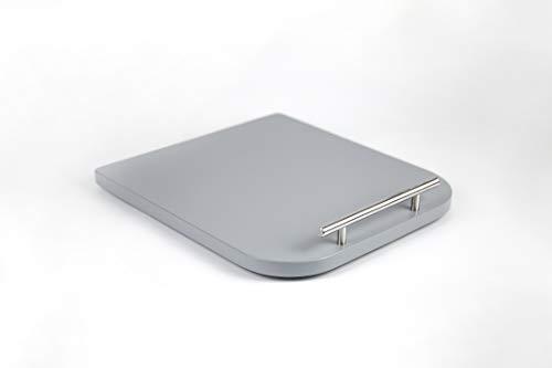 GZ-Design Tabla deslizante para Thermomix TM5/TM6 – Calidad premium – Mango de acero inoxidable – Accesorios – Madera – haya – Fabricado en Alemania (Gris)