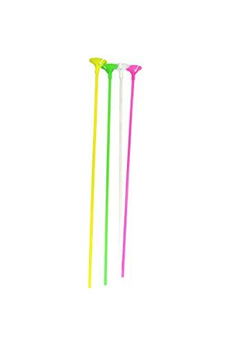 Sachet De 12 Tiges A Ballons 40Cm Plastique Couleurs Assorties