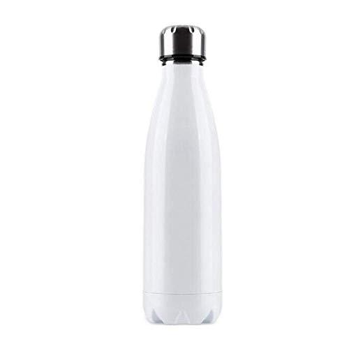 N\C Botella termo de acero inoxidable de doble pared de 500 ml para mantener caliente y frío aislado, botella de agua reutilizable para deportes (blanco)