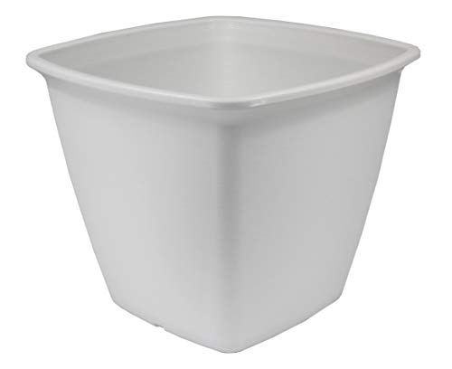Iris Ohyama 531281 , Square Flower Pot with Water Supply - Square Plant Pot - 360, Plastic, White, Large, 36 x 36 x 30 cm