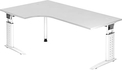 bümö® Schreibtisch höhenverstellbar 68-86 cm   Bürotisch mit Gestell in weiß   höhenverstellbarer Büroschreibtisch   Tisch für's Büro & PC in Top Qualität (Eckschreibtisch: 200 x 120 cm, Weiß)