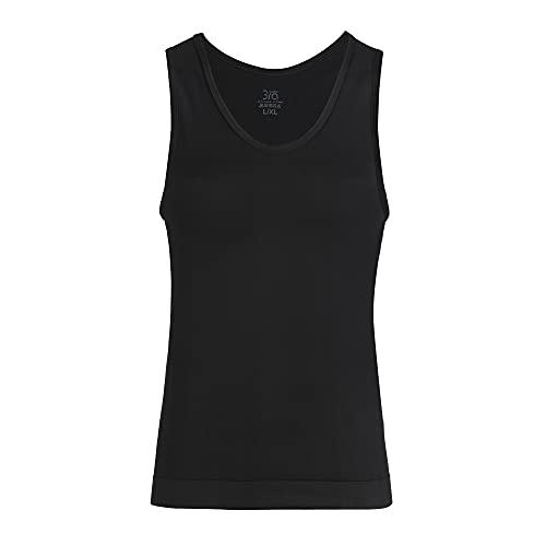 UnsichtBra Camiseta interior de compresión para hombre, de microfibra, para correr, para correr, fitness, gimnasio, para hombre, moldear el vientre, Negro , S/M