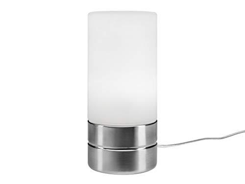 Tischleuchte mit TOUCH Dimmer in dezentem DESIGN - Glasschirm Opal Weiß & Sockel Nickel matt – Neue TOUCH Generation geeignet für LED