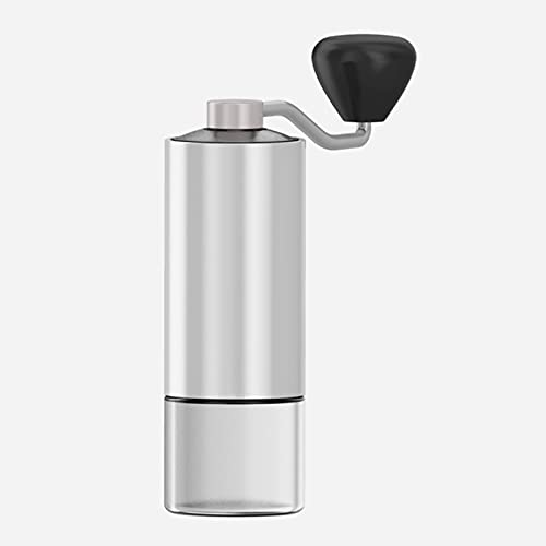 WHFKFBS Portable Stainless Steel Coffee Bean Grinder Point Type Thickness Adjustment Hand Grinder Freshly Ground Manual Coffee Machine Tablets, Nuts, Spices, Etc. Can All Be Used,Light Gray