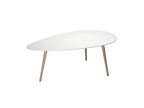 Ibbe Design Oval Rund Weiss Couchtisch Modern Skandinavisch Retro Kaffeetisch Beistelltisch MDF Fly, Natur Massiv Buche Holz Beine, 116x66x45 cm