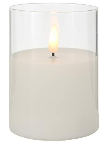 LED-kaars uit wax-stilo in glazen pot helder 2x AA 1,5 V