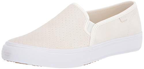 Keds womens Double Decker Perf Suede Slip on Sneaker, Cream, 8 US