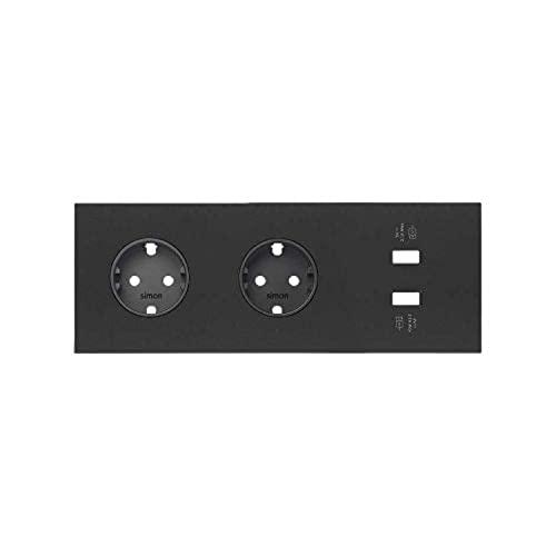 Kit front para 2 elementos con 2 bases de enchufe Schuko, serie 100, 4 x 15 x 8 centímetros, color negro mate (referencia: 10020211-238)