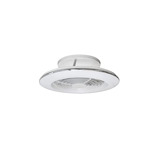 Mantra Iluminación. Modelo ALISIO MINI. Ventilador y plafón de techo de 52,5 cm de diámetro en color blanco. Fuente de luz LED 70W 2700K-5000K 4900lm. Ventilador 30W