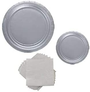 Silver Themed Decor Paper Plates and Napkins Party Pack - Party Pack Serves 8
