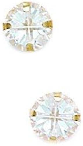 selección larga 14ct de oro amarillo amarillo amarillo de 6 mm 4 segmento de diente rojoondo CZ Pendientes - JewelryWeb  precio al por mayor