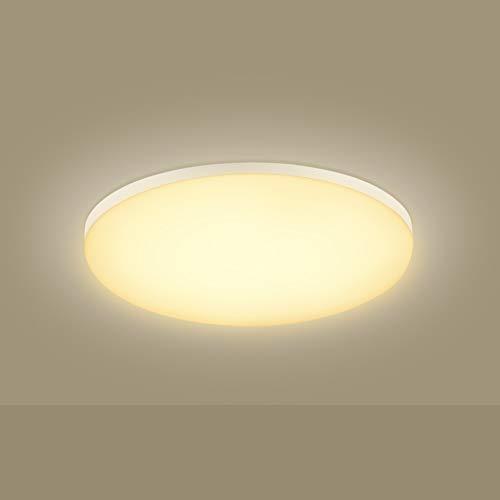 Viugreum Plafoniera di Versione Luna 5cm Ultrasottile 12W / 18W / 24W / 36W / 50W Lampada LED da Soffitto Piatta a Basso Consumo Resistente a Umidit脿 da Casa Bagno Ufficio Negozio (Bianco Caldo, 24W)