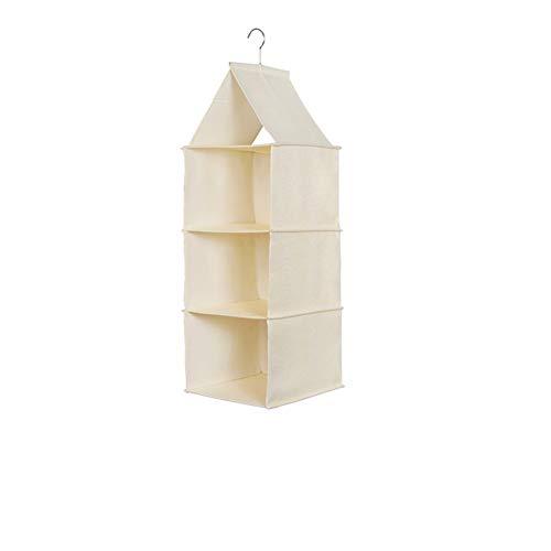 Yiwa ladekast, organizer, garderobe, van meerlagige stof, voor het ophangen van kleding, opbergdoos, crèmewit, drie lagen