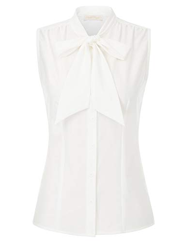 Belle Poque blouse dames top vintage retro opstaande kraag met vlinderdas bovendeel zonder mouwen BPS2135