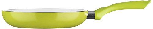Premier Housewares Ecocook Poêle à frire avec couvercle en verre antiadhésive avec revêtement céramique blanc – Friteuse Vert citron - aluminium Vert citron - Ustensile de cuisine-24 cm