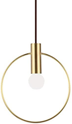 ZNMY - Lámpara Colgante de círculo Dorado Minimalista, Anillo de Metal Moderno E14, lámpara Colgante de Techo, Comedor, Dormitorio, Cocina, Accesorio de iluminación (28 cm)