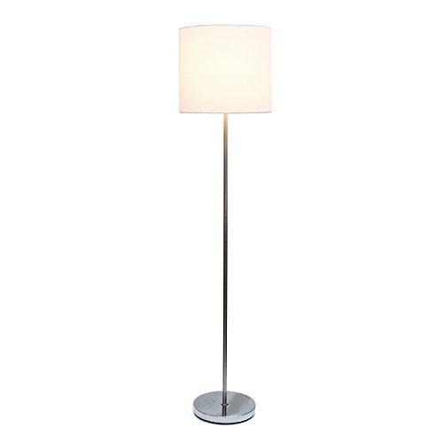 Simple Designs LF2004-WHT Brushed Nickel Drum Shade Floor Lamp