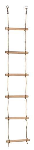 Gartenwelt Riegelsberger Premium Strickleiter für Kinder mit 6 Holzsprossen Länge 220 cm Seilleiter Trittleiter Hängeleiter Turngerät