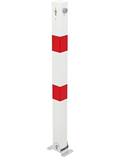 GAH-Alberts 780609 Absperrpfosten Klappy - umlegbar, zum Aufschrauben, mit gleichschließendem Profilzylinderschloss und drei Schlüsseln, feuerverzinkt, weiß mit roten Ringen, 70 x 70 / 1000 mm