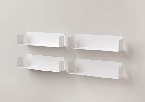 TEEbooks Set di 4 mensole Muro, Acciaio, Bianco, 60 x 15 x 15 cm, 4 unità