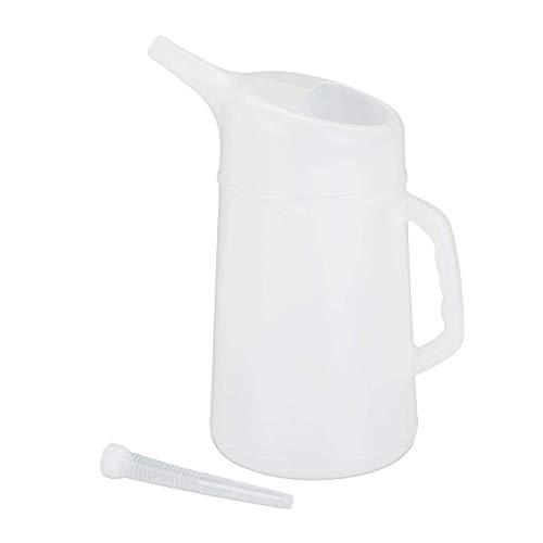Relaxdays Embudo de Aceite para Coche, Ajustable, Medidor de Aceite, Resistente, PE, 5 L, Blanco