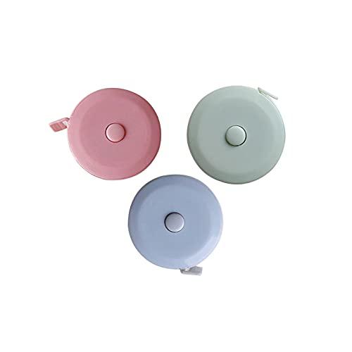 Zeayebsr 150 cm   60 in Regla de medición del Cuerpo, Cinta métrica retráctil de Costura Cinta métrica Suave Cinta de Medida de Tela de Costura a Medida,Azul verde rosa,3 rodajas