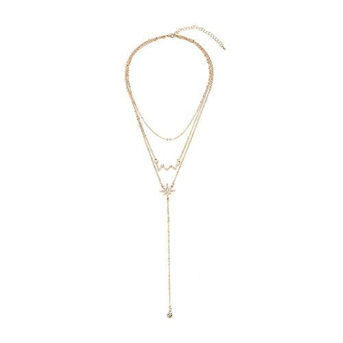 Collar de aleación de la Estrella Hueca Europea y Americana Hermosa Personalizada Personalizada Todos los Collares Colgantes de la Perla Pearl para Las Mujeres (1 Set) TINGG (Size : 48+16 cm)