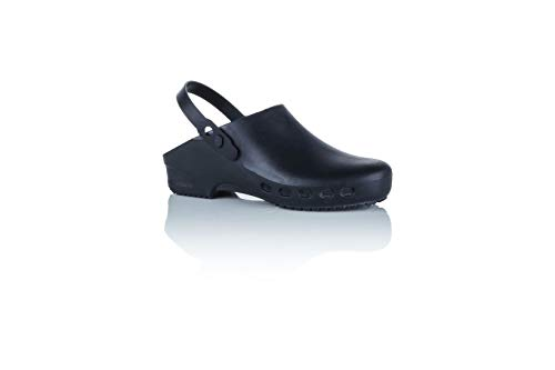 Safe Way OP-Clogs OP-Schuhe schwarz medizinische Arbeitsschuhe autoklavierbar Fersenriemen Doppelgrößen!!! (Numeric_42)
