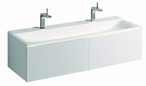 Geberit Xeno 2 wastafel met 2 kraangaten en zonder overloop, 140x48cm, wit, 500277001-500.277.00.1
