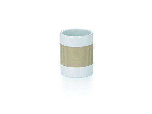 Kela 22551 Gobelet Céramique Finition Décor Strié Gomme Blanc/Beige 7,5 x 7,5 x 10 cm