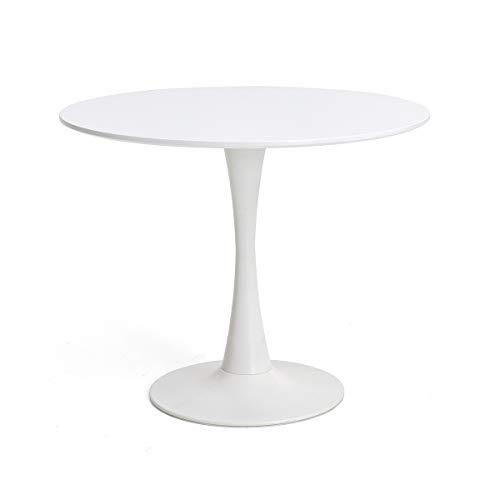 Beistelltisch Nordic Kleiner runder Tisch Tulip Table Moderner minimalistischer kleiner Couchtisch Lässiger Verhandlungstisch Couchtisch (Farbe : Weiß, Größe : 80x80cm)
