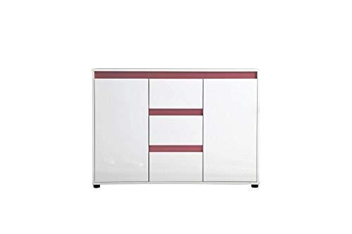 Newfurn Sideboard Kommode Modern Anrichte Highboard Mehrzweckschrank II 119x84x 35 cm (BxHxT) II [Sena.Four] in Weiß Dekor/Weiß Hochglanz Lack Wohnzimmer Schlafzimmer Esszimmer