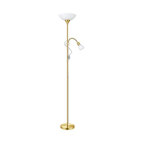 EGLO Stehlampe Up 2, 2 flammige Stehleuchte Modern, Klassisch, Standleuchte aus Stahl, Glas, Wohnzimmerlampe in Messing-Matt, Weiß, Lampe mit Schalter, Deckenfluter mit Leselampe, E27 + E14 Fassung