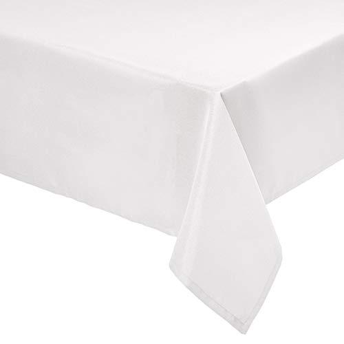 Amazon Basics - Mantel de poliéster para mesa, rectangular, lavable, 153 x 259 cm, marfil, 2 unidades